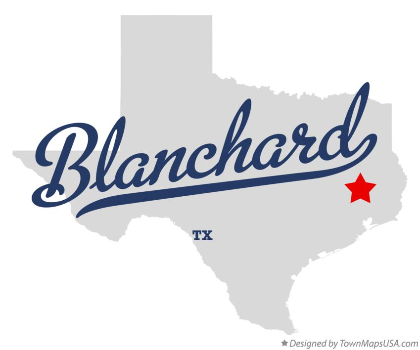 Map of Blanchard Texas TX