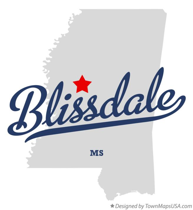 Map of Blissdale Mississippi MS