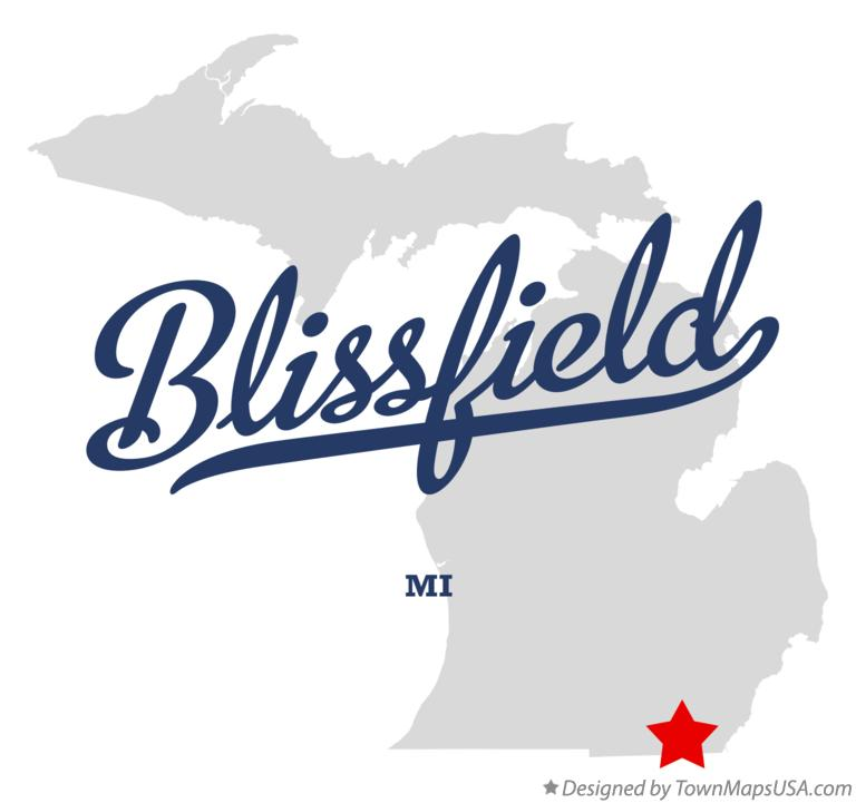 Map of Blissfield Michigan MI