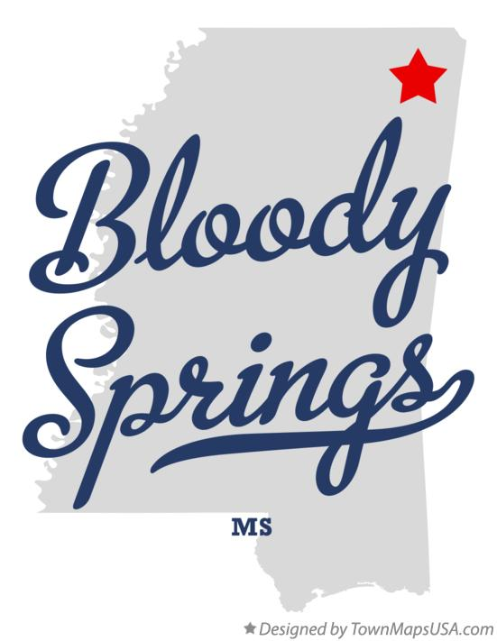 Map of Bloody Springs Mississippi MS