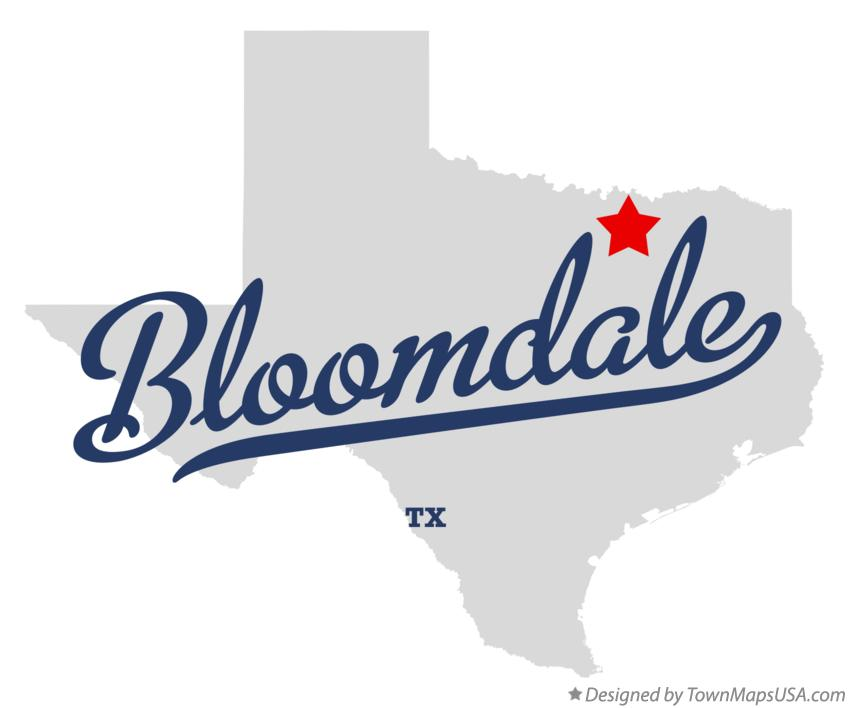 Map of Bloomdale Texas TX