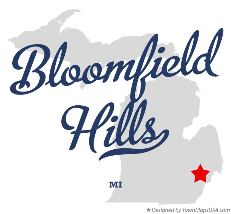 Map of Bloomfield Hills, MI, Michigan