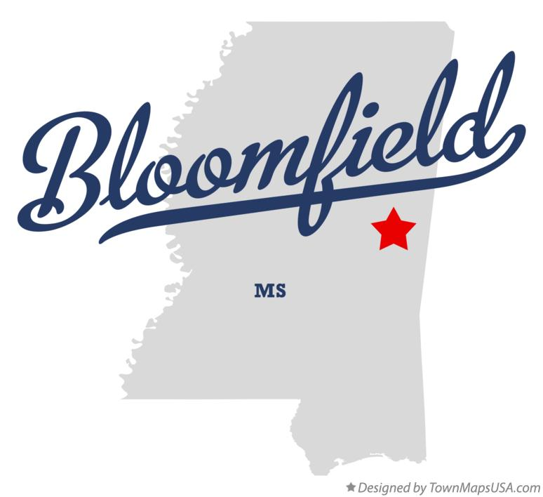 Map of Bloomfield Mississippi MS