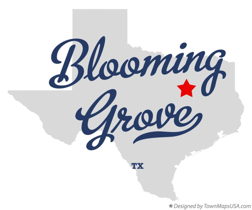 Map of Blooming Grove Texas TX