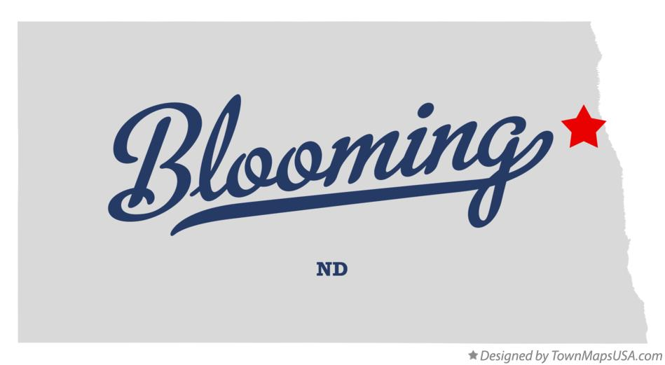 Map of Blooming North Dakota ND