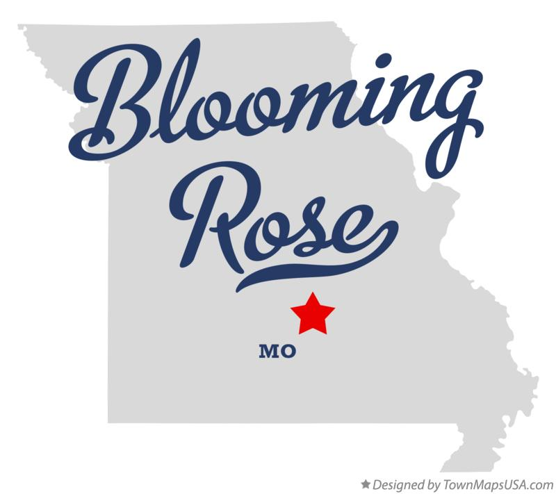 Map of Blooming Rose Missouri MO