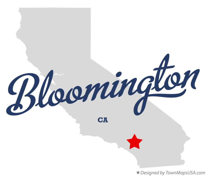 Map of Bloomington California CA