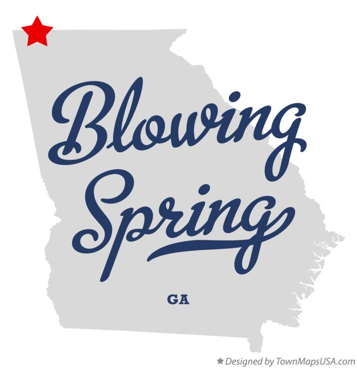 Map of Blowing Spring Georgia GA