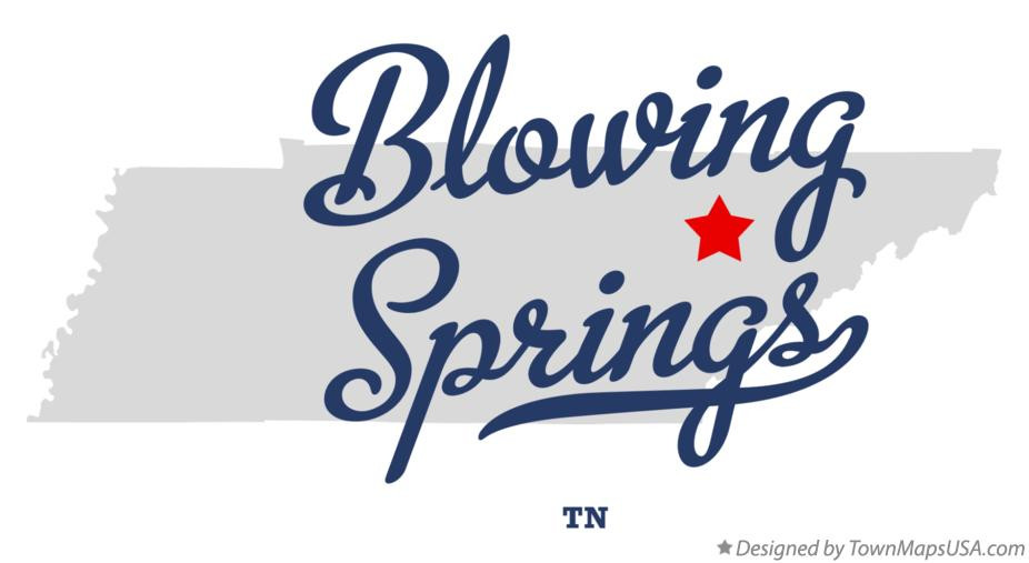 Map of Blowing Springs Tennessee TN