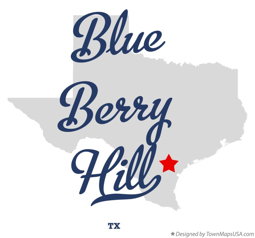 Map of Blue Berry Hill Texas TX