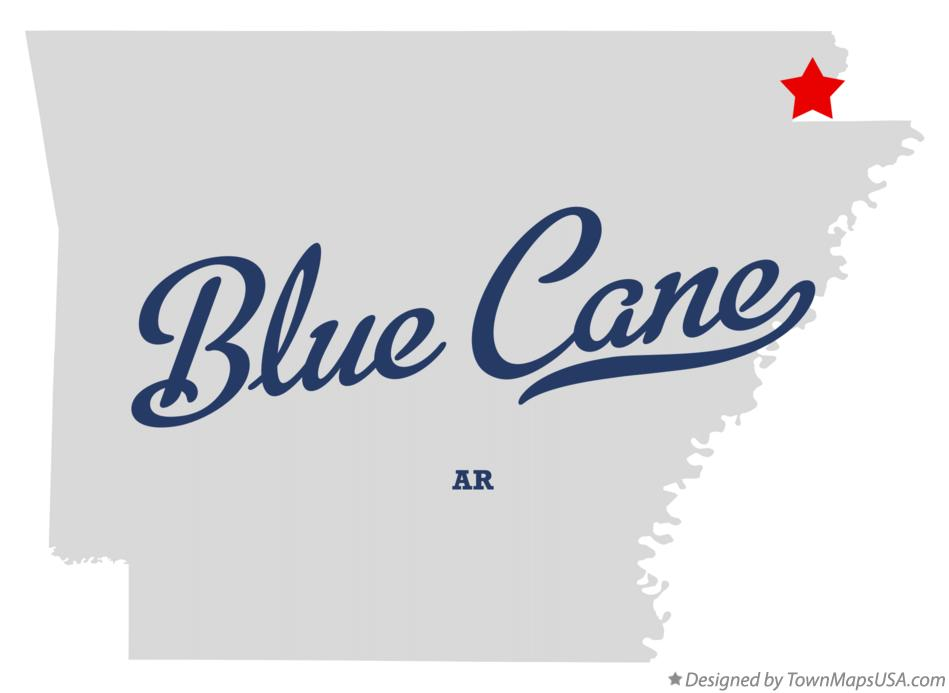 Map of Blue Cane Arkansas AR