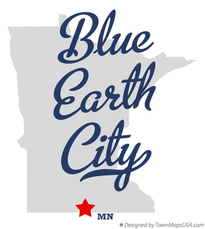 Map of Blue Earth City Minnesota MN