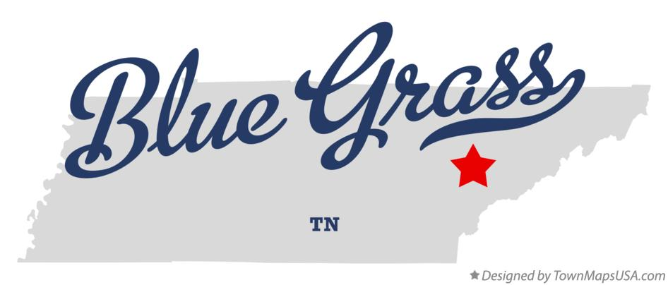 Map of Blue Grass Tennessee TN