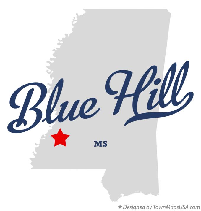 Map of Blue Hill Mississippi MS