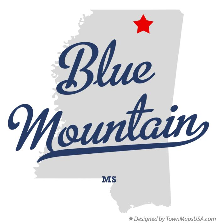 Map of Blue Mountain Mississippi MS