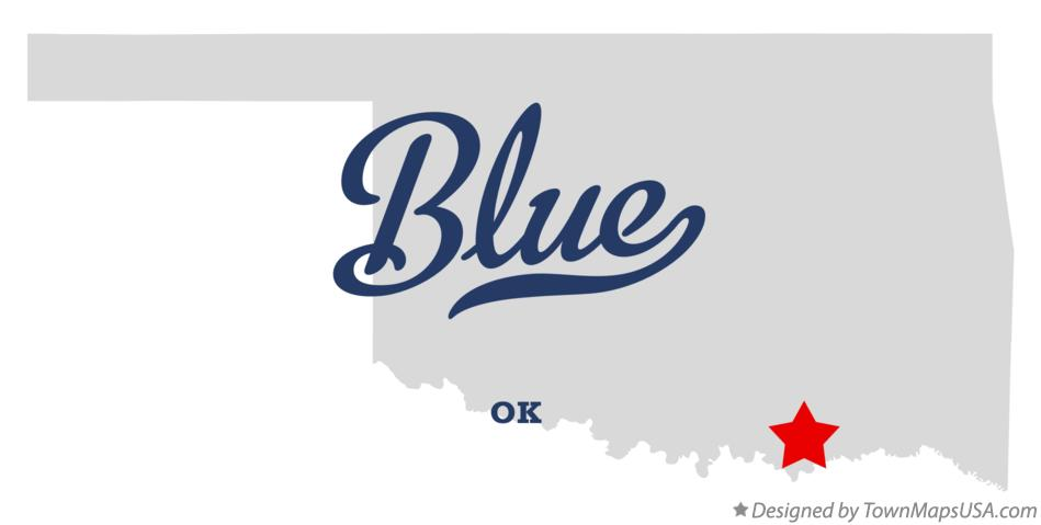 Map of Blue Oklahoma OK