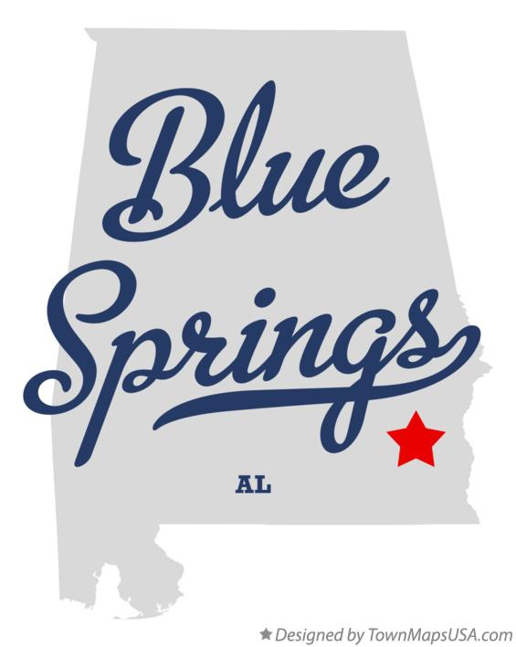 Map of Blue Springs Alabama AL