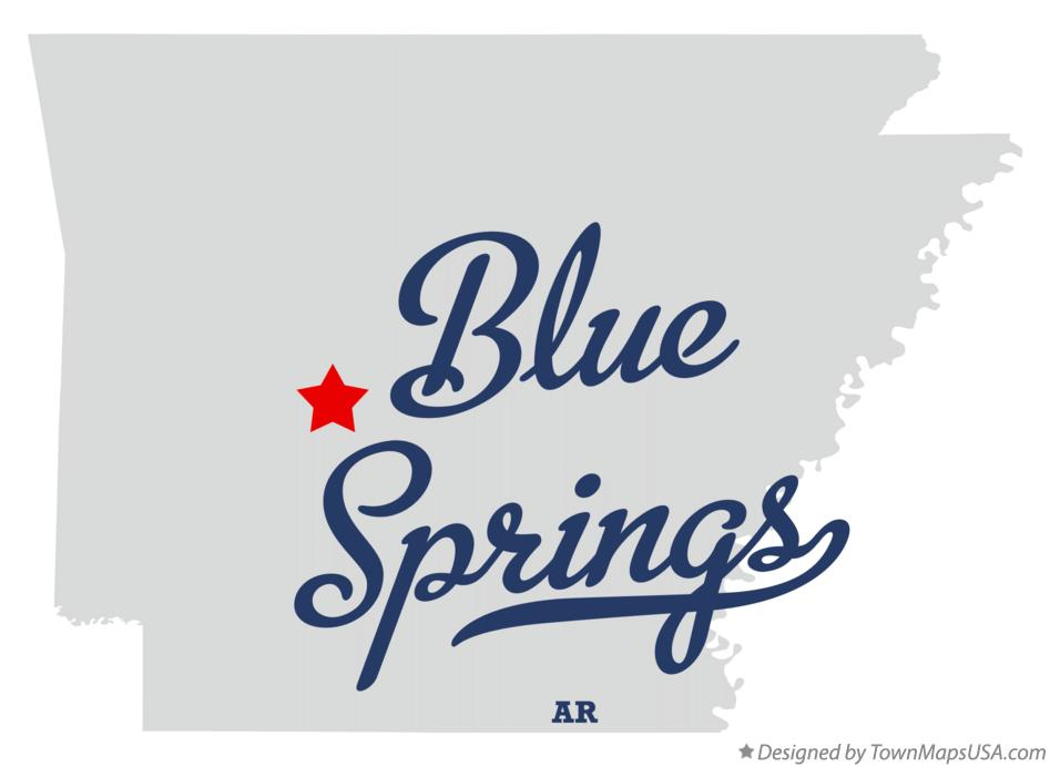 Map of Blue Springs Arkansas AR