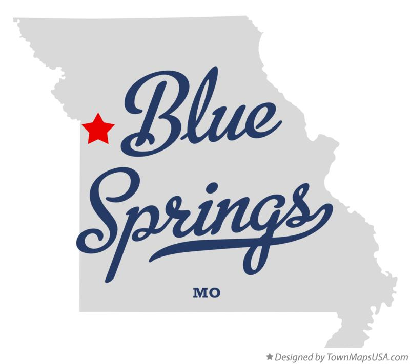 Map of Blue Springs MO Missouri