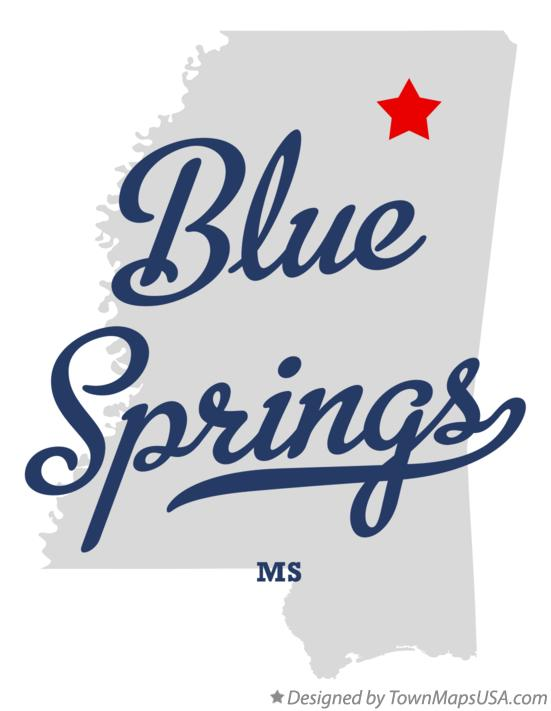 Map of Blue Springs Mississippi MS