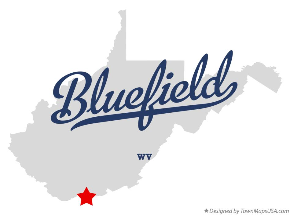 Map of Bluefield WV West Virginia