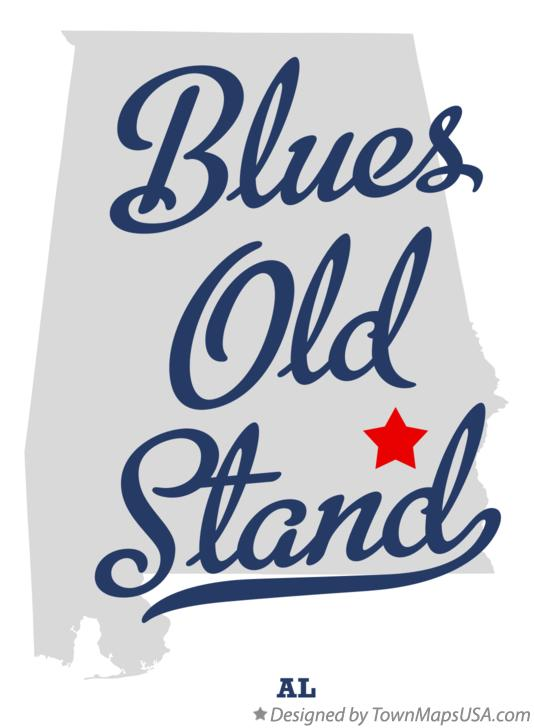 Map of Blues Old Stand Alabama AL