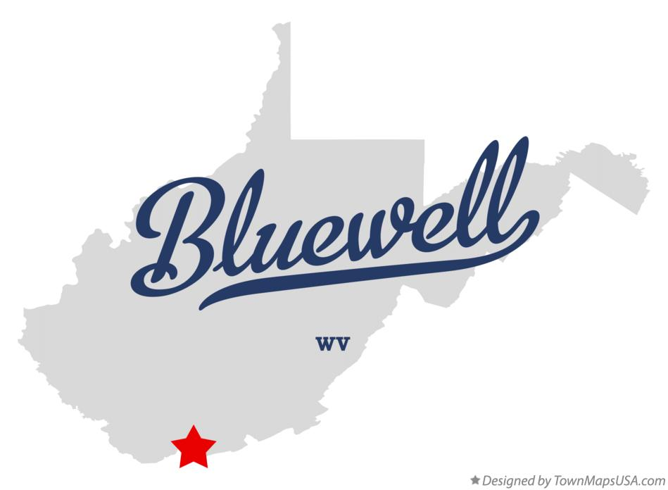 Map of Bluewell West Virginia WV
