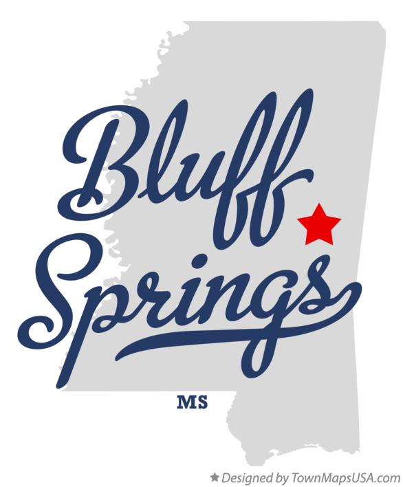 Map of Bluff Springs Mississippi MS