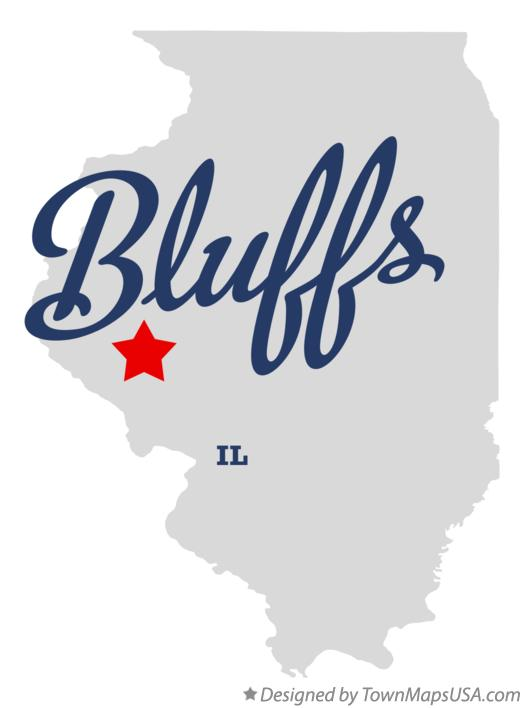Map of Bluffs Illinois IL