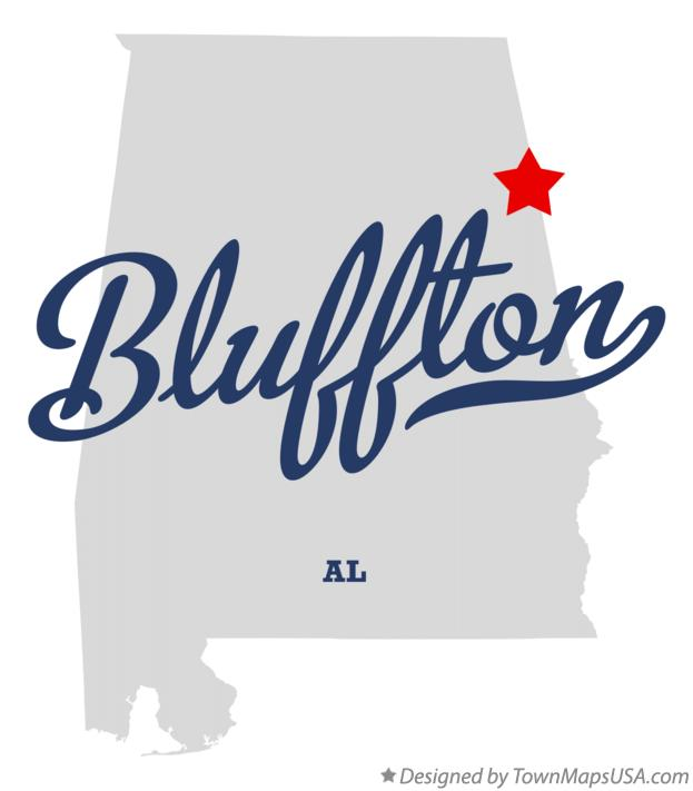 Map of Bluffton Alabama AL
