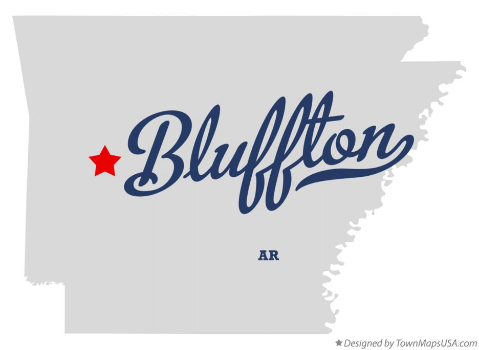 Map of Bluffton Arkansas AR
