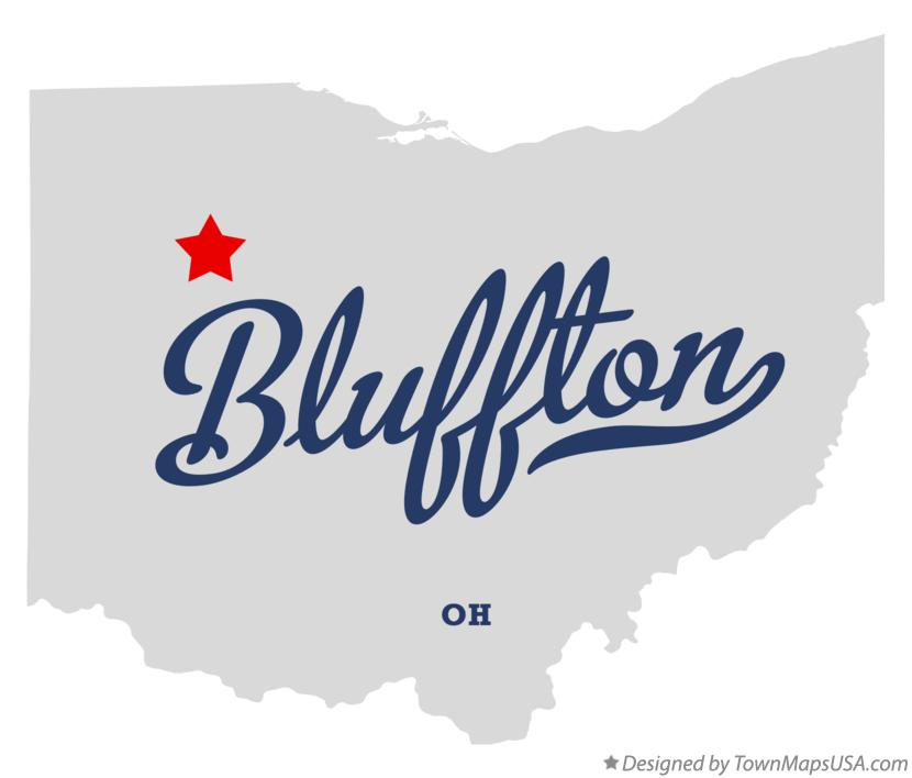 Map of Bluffton Ohio OH