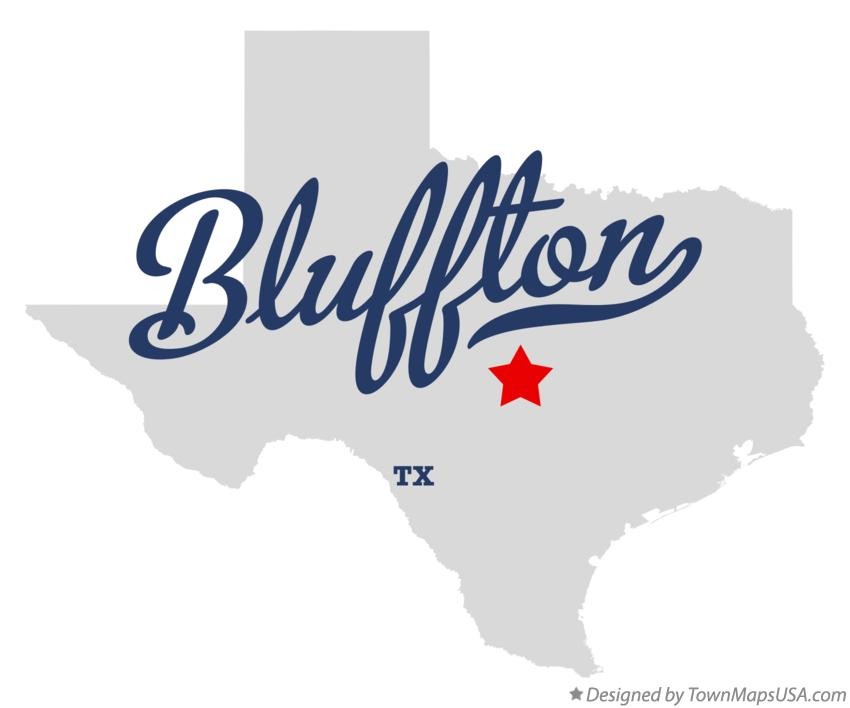 Map of Bluffton Texas TX