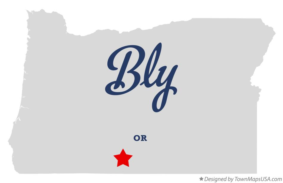 Map of Bly Oregon OR