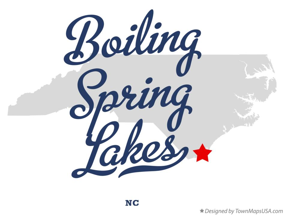 Map of Boiling Spring Lakes North Carolina NC