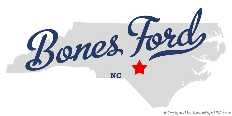 Map of Bones Ford North Carolina NC