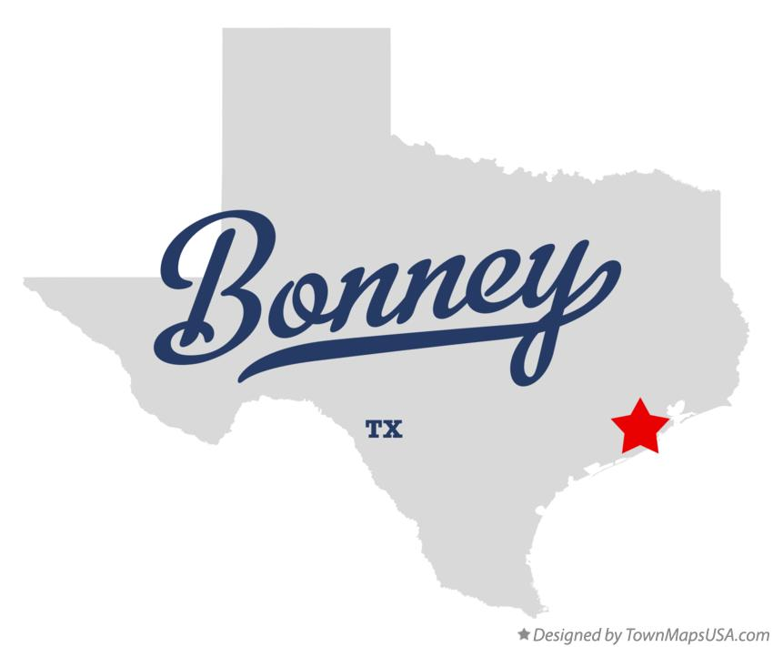 Map of Bonney Texas TX