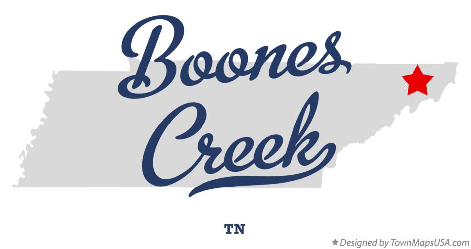 Map of Boones Creek Tennessee TN