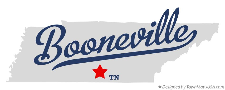 Map of Booneville Tennessee TN
