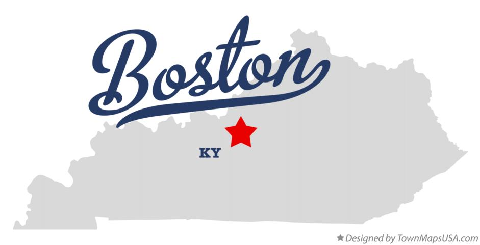 Map of Boston Kentucky KY