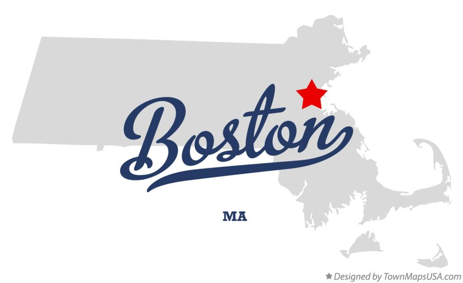 Map of Boston Massachusetts MA