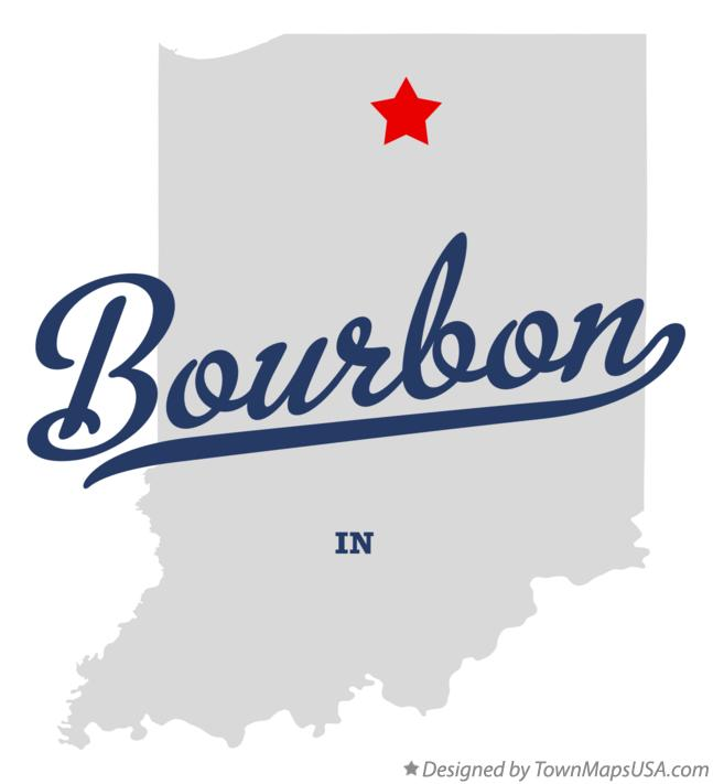 Map of Bourbon Indiana IN