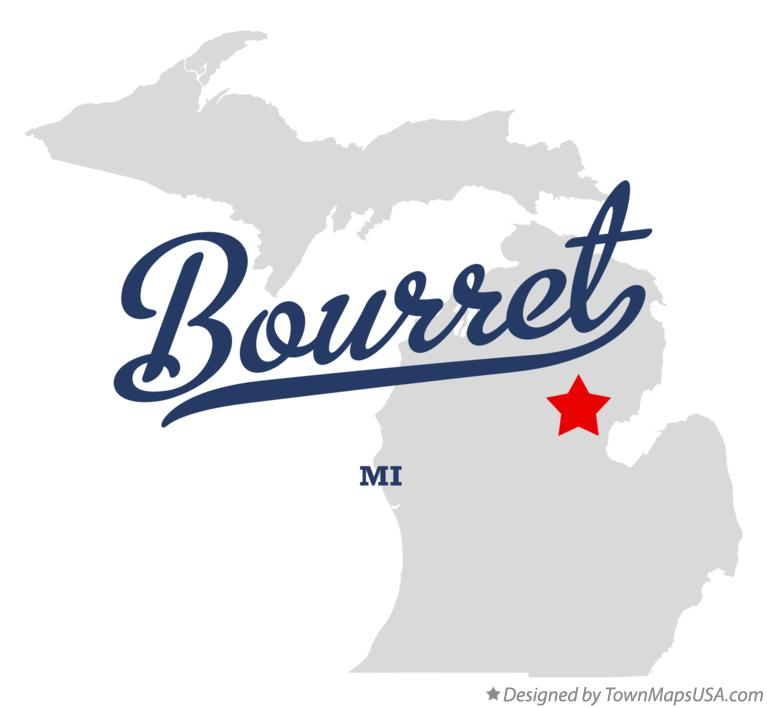 Map of Bourret Michigan MI