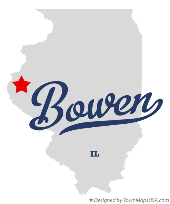Map of Bowen Illinois IL