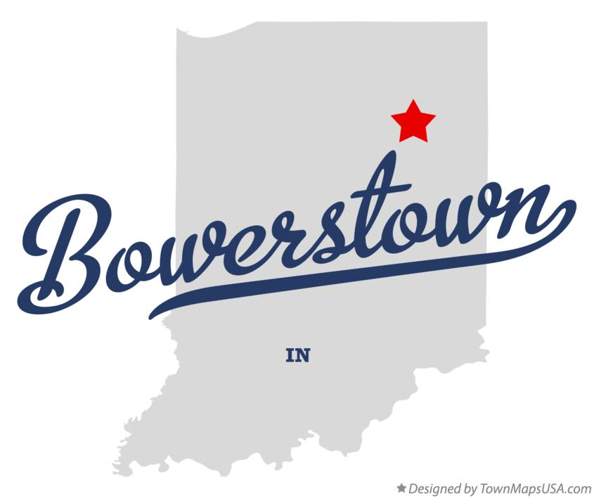 Map of Bowerstown Indiana IN