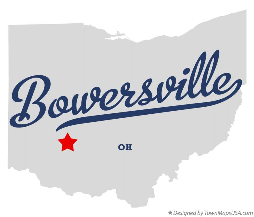 Map of Bowersville Ohio OH