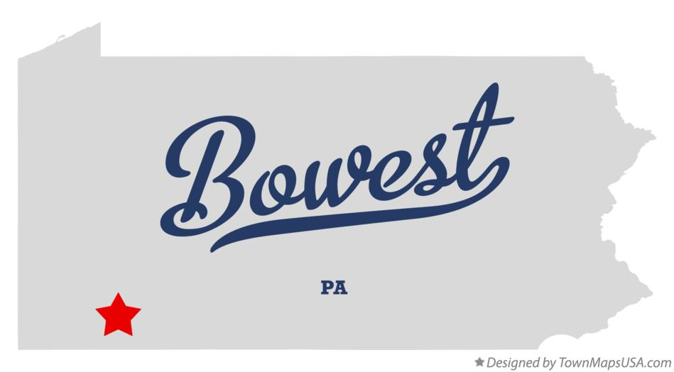 Map of Bowest Pennsylvania PA