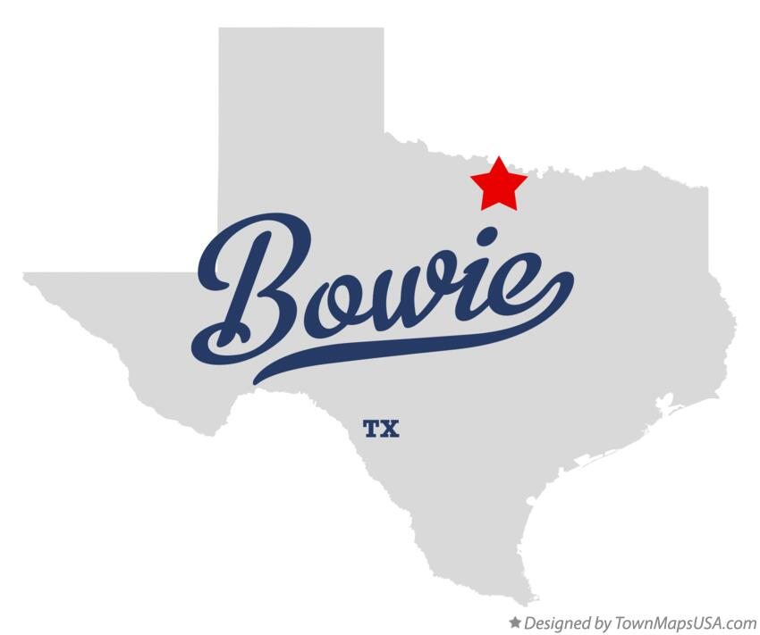 Map of Bowie Texas TX