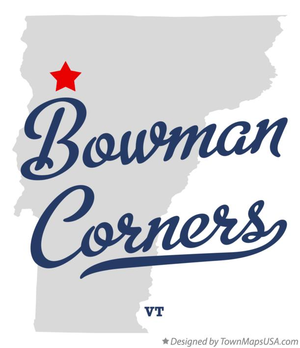 Map of Bowman Corners Vermont VT
