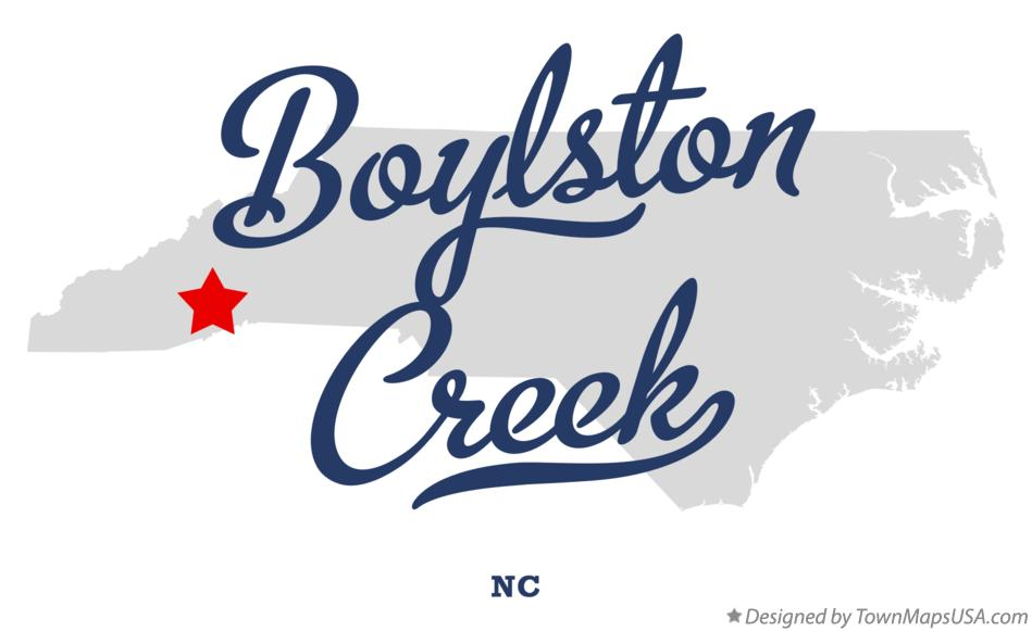 Map of Boylston Creek North Carolina NC